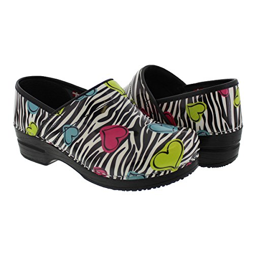 FUN Neon Hearts Print and Zebra Clogs