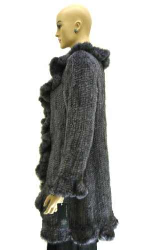 Knitted Mink Stroller Coat with Ruffles