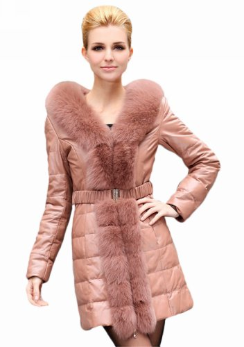 Cute Light PINK LEATHER Winter Coat