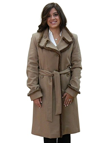 Dark Camel Brown Cashmere Belted Winter Coat