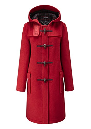 Ladies Classic Long Duffle Coat Red