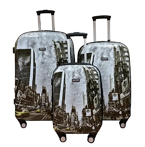 Cool Times Square Scenes Hard Shell Wheeled Spinner 3 Piece Luggage Set
