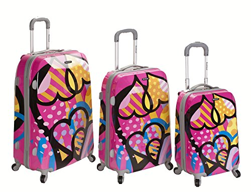 Cute Pink Luggage Set with Hearts
