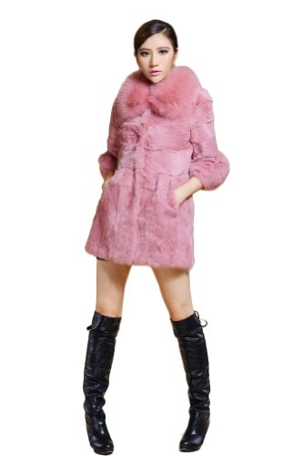 PINK Rabbit Fur Coat with Fox Collar