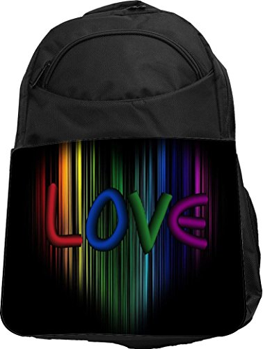 Cool Rainbow LOVE on Heart Backpack
