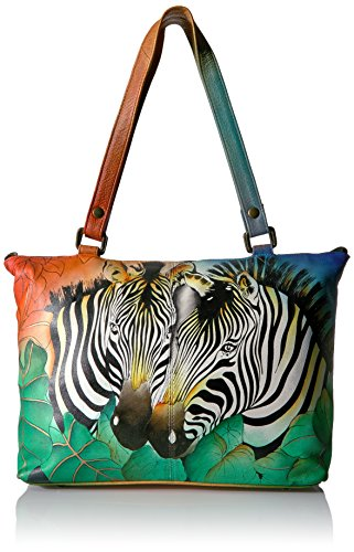 Handpainted Zebras Design Large Leather Tote
