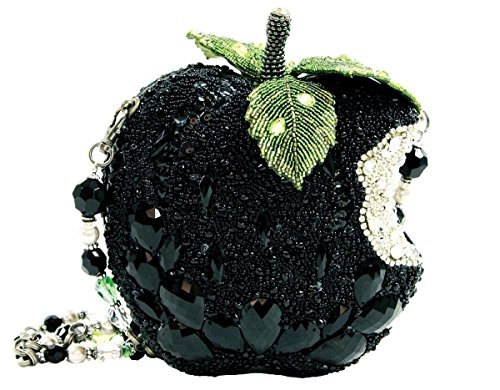 Wicked Black Apple Crystal Crystal Beaded Jeweled Handbag