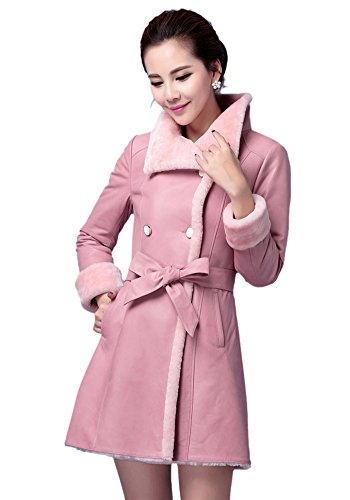 Pink Leather Coat for Women