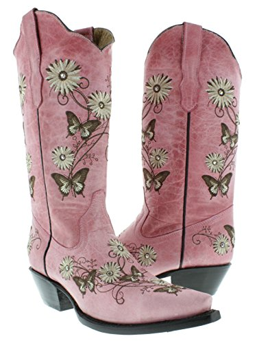 beautiful pink color cowgirl boots